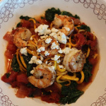 Tomato Zucchini Spaghetti with Shrimp, Kale and Feta