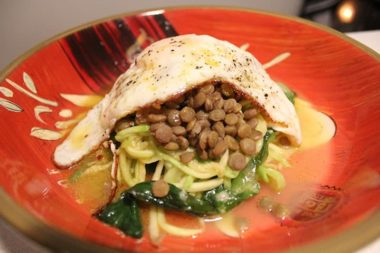 Zucchini Pasta Tower with Lentils, Escarole and a Fried Egg