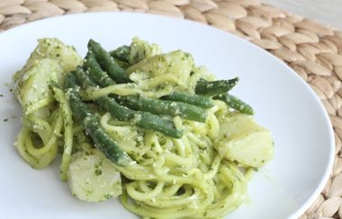 Meatless Mondays: Pesto Zucchini Pasta Salad with Green Beans and Potatoes