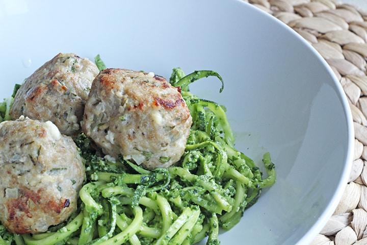 Greek Inspired Zucchini Pasta – Feta Turkey Meatballs!