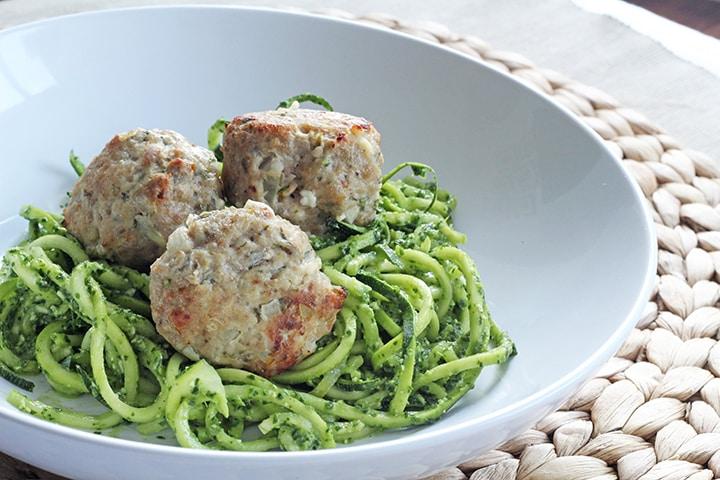 Kale pesto zucchini spaghetti with turkey feta meatballs for Zucchini noodles and meatballs recipe