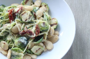 Meatless Monday: Grilled Ricotta Spaghetti & Brussel Sprouts with Butter Beans and Sundried Tomatoes