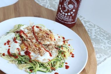 Meatless Monday: Zucchini Spaghetti and Sriracha Fried Eggs