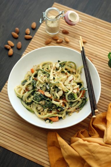 Meatless Monday: Sesame Ginger Peanut Noodles with Edamame, Kale and Almonds