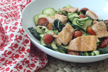 Sauteed Green Chard and Tomatoes Zucchini Pasta with Grilled Salmon