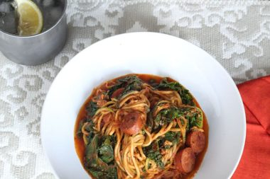 Creamy Cajun Zucchini Pasta with Kale and Andouille Sausage