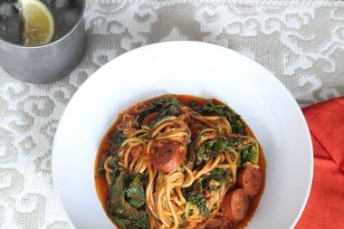 Creamy Cajun Zucchini Pasta with Kale and Andouille Sausage