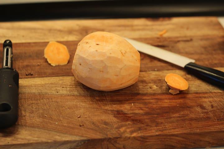spiralizing a sweet potato