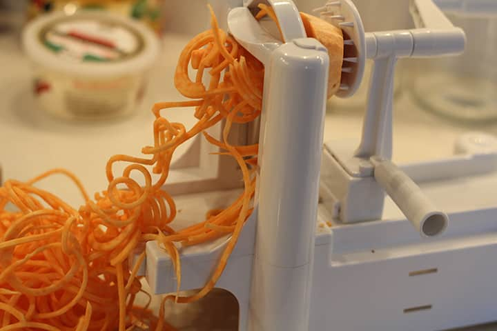 spiralizing a sweet potato