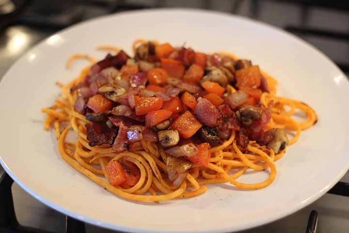 Sweet Potato Noodles with Bacon & Vegetable Hash