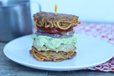 The Spiralized Burger with Grilled Tomato, Onion and Avocado-Goat Cheese Spread