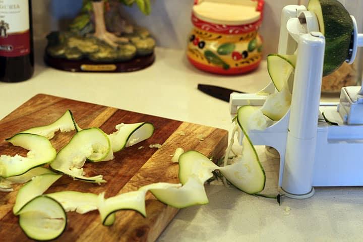 spiralizing a zucchini
