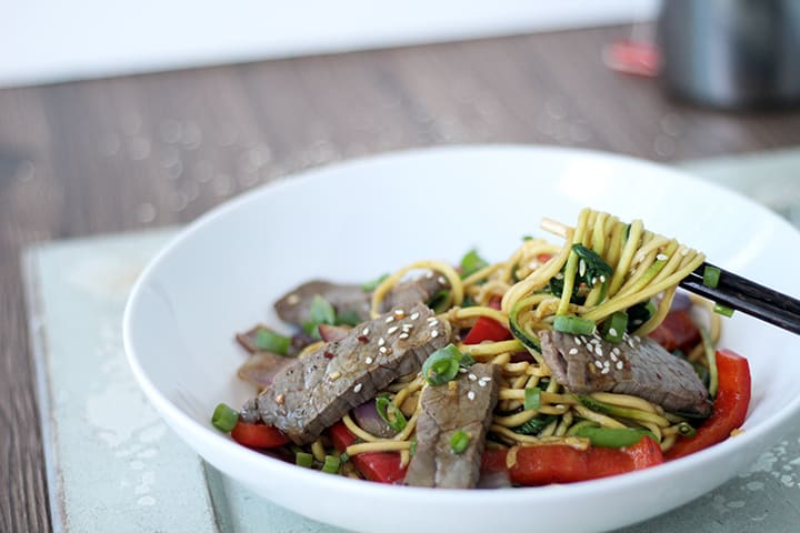 Sesame Beef Stir Fry with Zucchini Noodles