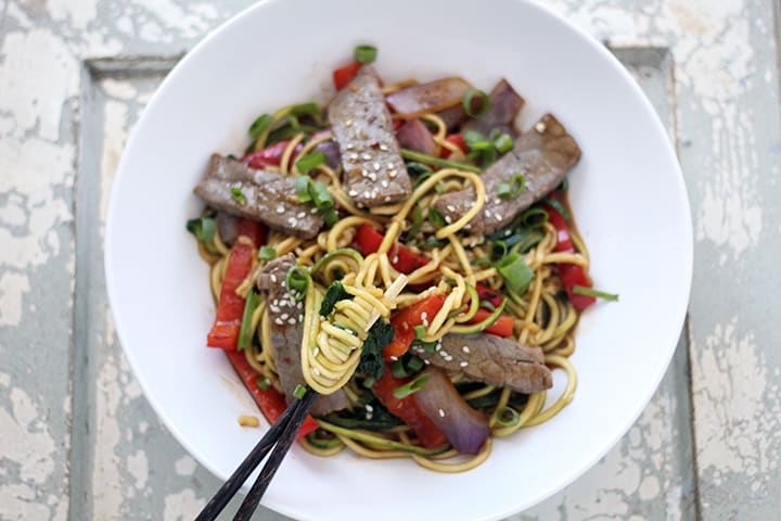 Inspiralized Sesame Beef Stir Fry With Zucchini Noodles