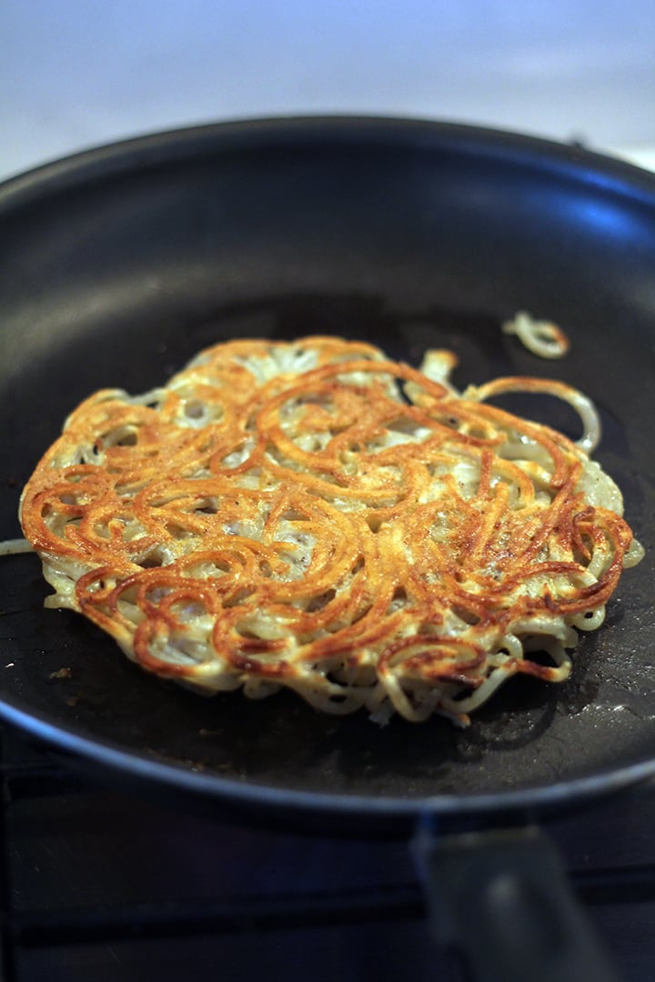 making a potato noodle pancake