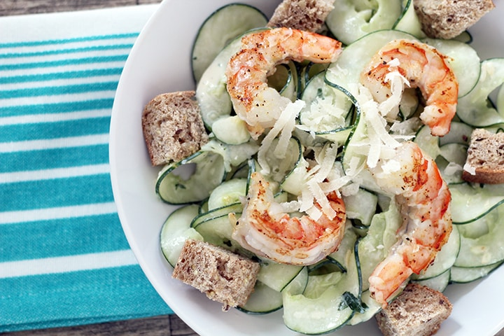 Skinny Basil Caesar Cucumber Noodle Salad with Shrimp
