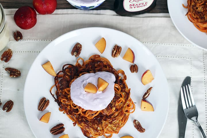 Spiralized Sweet Potato Noodle Pancakes with Blueberry Chobani Greek Yogurt