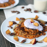 Cinnamon-Nutmeg Sweet Potato Noodle Pancakes with Blueberry Chobani & Baby Nectarines