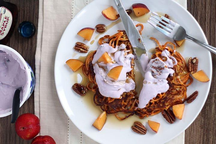 Spiralized Sweet Potato Noodle Pancakes with Blueberry Chobani Greek Yogurt
