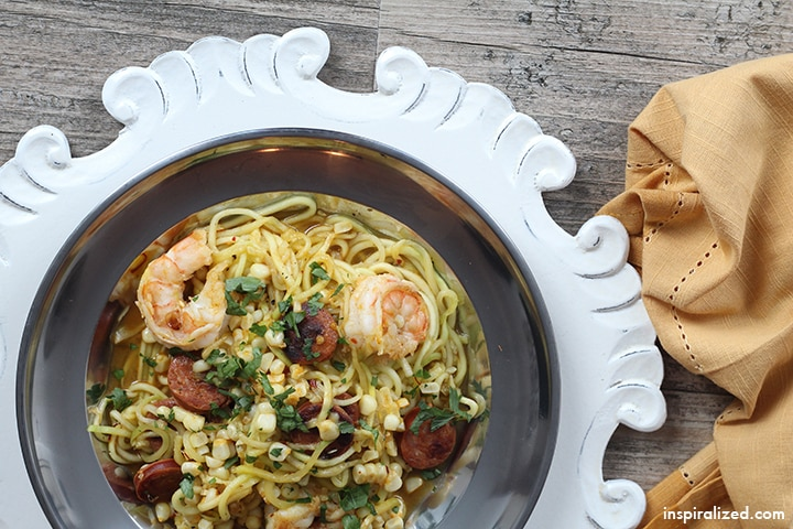 Shrimp, Chorizo and Corn Saffron Zucchini Pasta