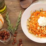 Carrot and Parsnip Noodles with Roasted Hazelnuts and Ricotta