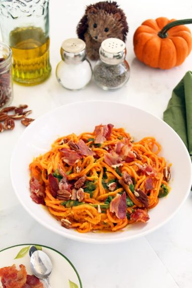 Roasted Butternut Squash Sweet Potato Noodles with Bacon, Crushed Pecans and Spinach
