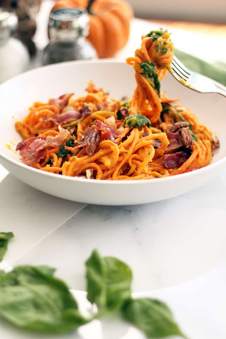 Butternut Squash Sweet Potato Noodles with Bacon, Pecans and Spinach