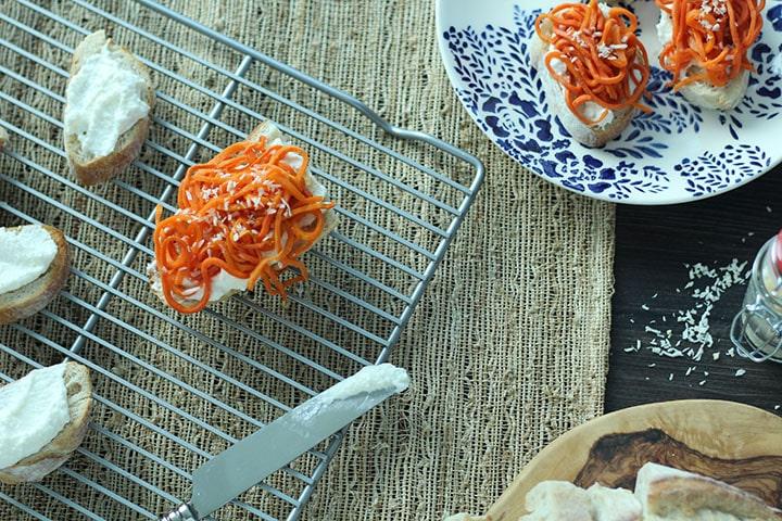 Maple Roasted Carrot Noodle Ricotta Crostini