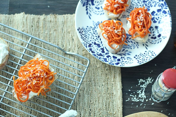 Maple Honey Roasted Carrot Noodle Ricotta Crostini with Coconut Flakes