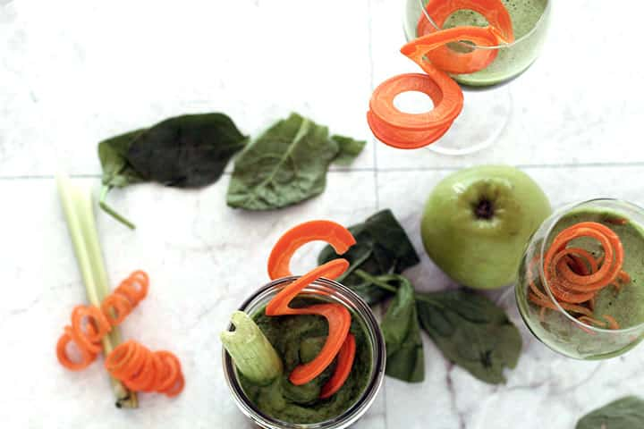 Jalapeno and Cilantro Green Juice with Spiralized Carrot Garnish