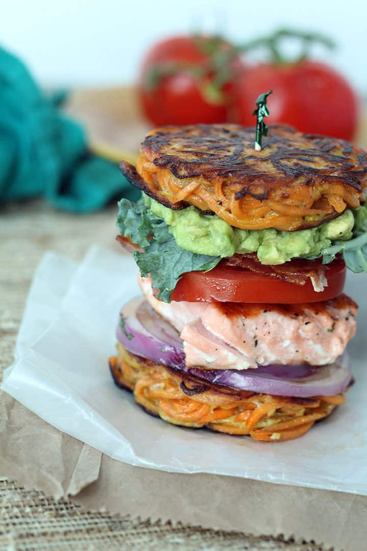 Spiralized Sweet Potato Noodle Bun with Salmon Sandwich