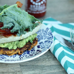 Open-Faced Sriracha Tuna Steak BLT on a Sweet Potato Noodle Bun
