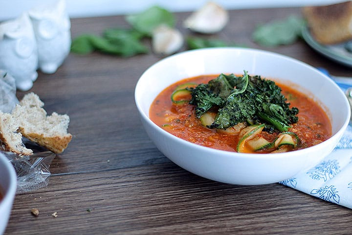 Roasted Tomato Basil Zucchini Noodle Soup with Kale Chips
