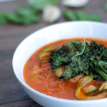 Meatless Monday: Creamy Roasted Tomato Basil Zucchini Noodle Soup with Kale Chips