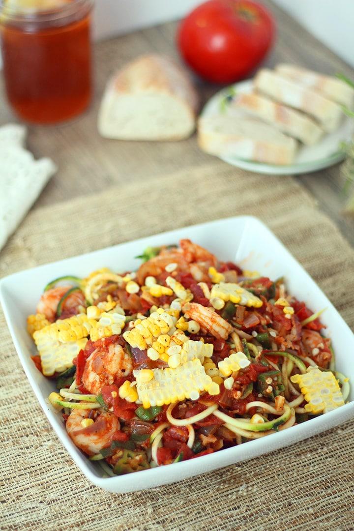 Shrimp, Okra and Bacon Cajun Creole Zucchini Pasta