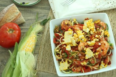 Shrimp, Bacon and Okra 'Creole-Cajun' Zucchini Pasta