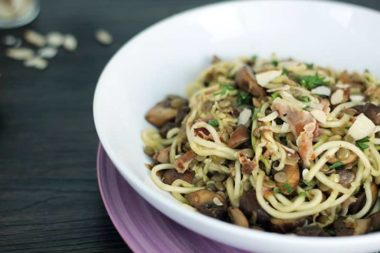 Mushroom, Pancetta & Lentil Zucchini Pasta with Toasted Almonds