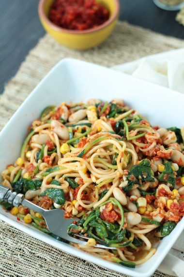 Sun-dried Tomato Pesto Zucchini Pasta with Spinach, Beans and Corn