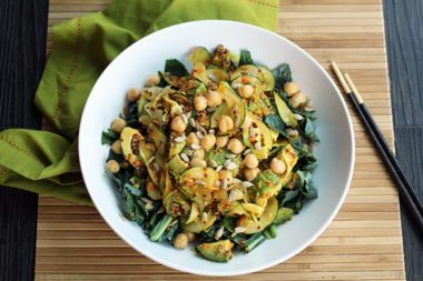 Carrot Miso-Ginger Cucumber Noodles with Sunflower Seeds, Chickpeas, Kale, Avocado and Red Quinoa