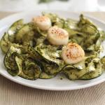 Pesto Zucchini Noodles with Pan Seared Diver Scallops