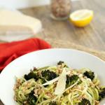Roasted Broccoli and Toasted Farro Zucchini Pasta