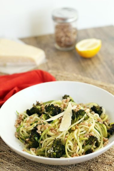 Roasted Broccoli and Toasted Farro Zucchini Pasta