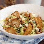 Cheesy Gorgonzola Zucchini Pasta with Toasted Walnuts and Baked Anjou Pears