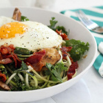 Warm Bacon Dressed Zucchini Noodles with Mushrooms, Kale and a Fried Egg