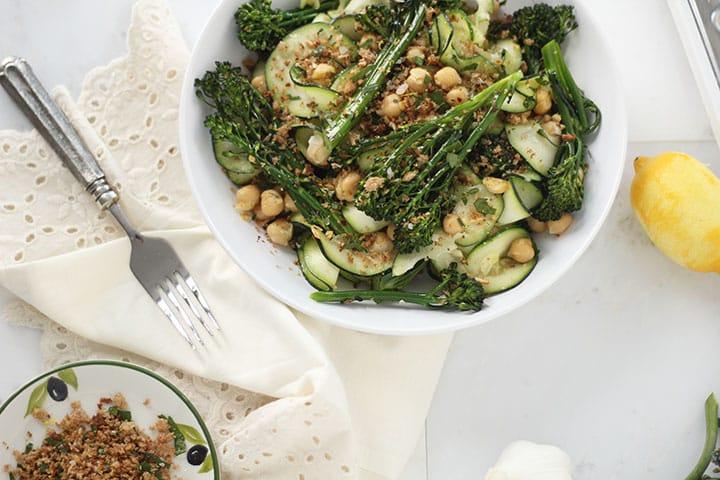 Broccolini and Chickpea Zucchini Pasta with Gremolata Breadcrumbs