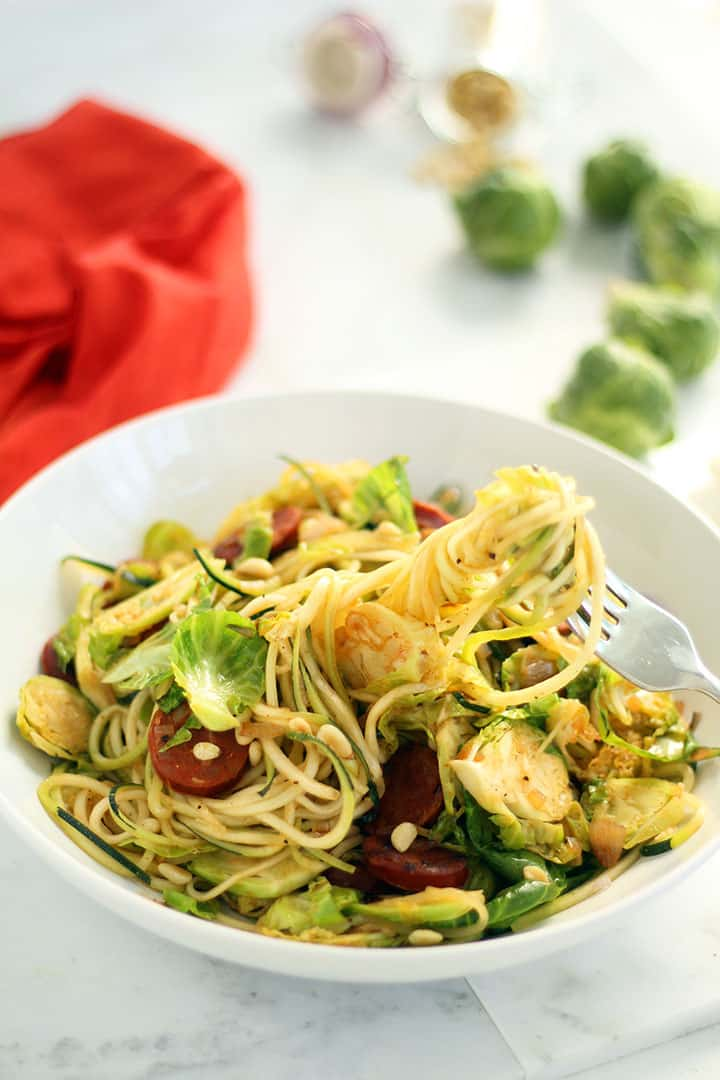 Brussel Sprout and Chorizo Hash Zucchini Pasta with Toasted Pine Nuts