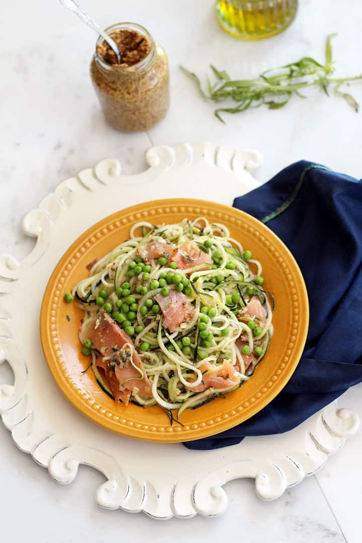 Mustard-Tarragon Zucchini Pasta with Smoked Salmon and Peas