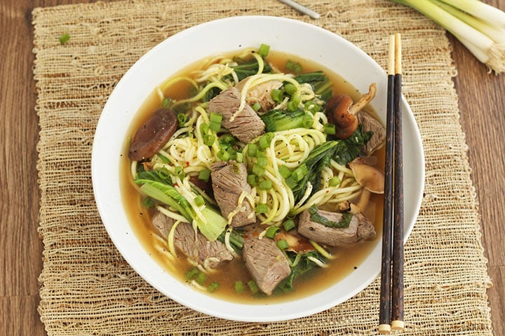 Beef Noodle Soup with Shitake Mushrooms and Baby Bok Choy