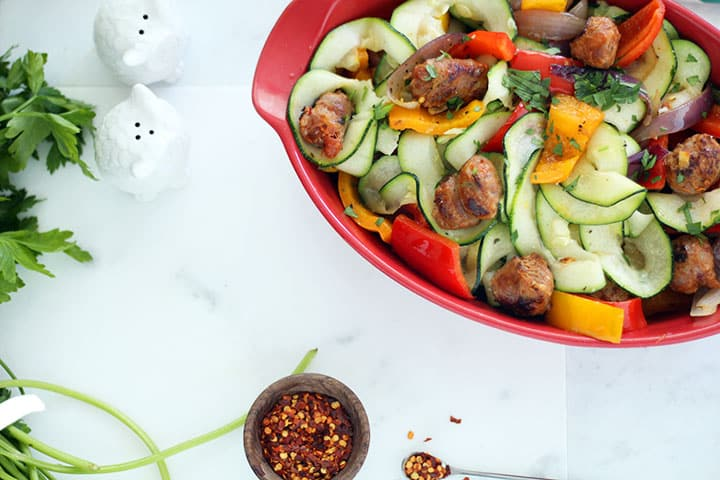 Spicy Italian Sausage and Peppers Zucchini Pasta