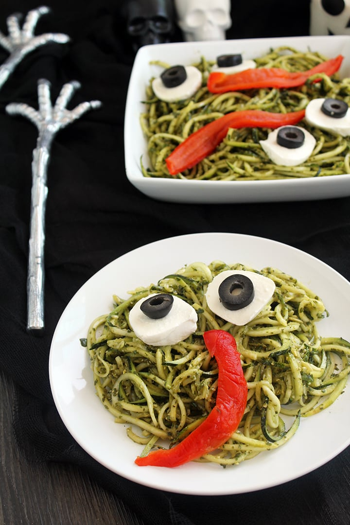 pesto zucchini noodles for kids halloween party